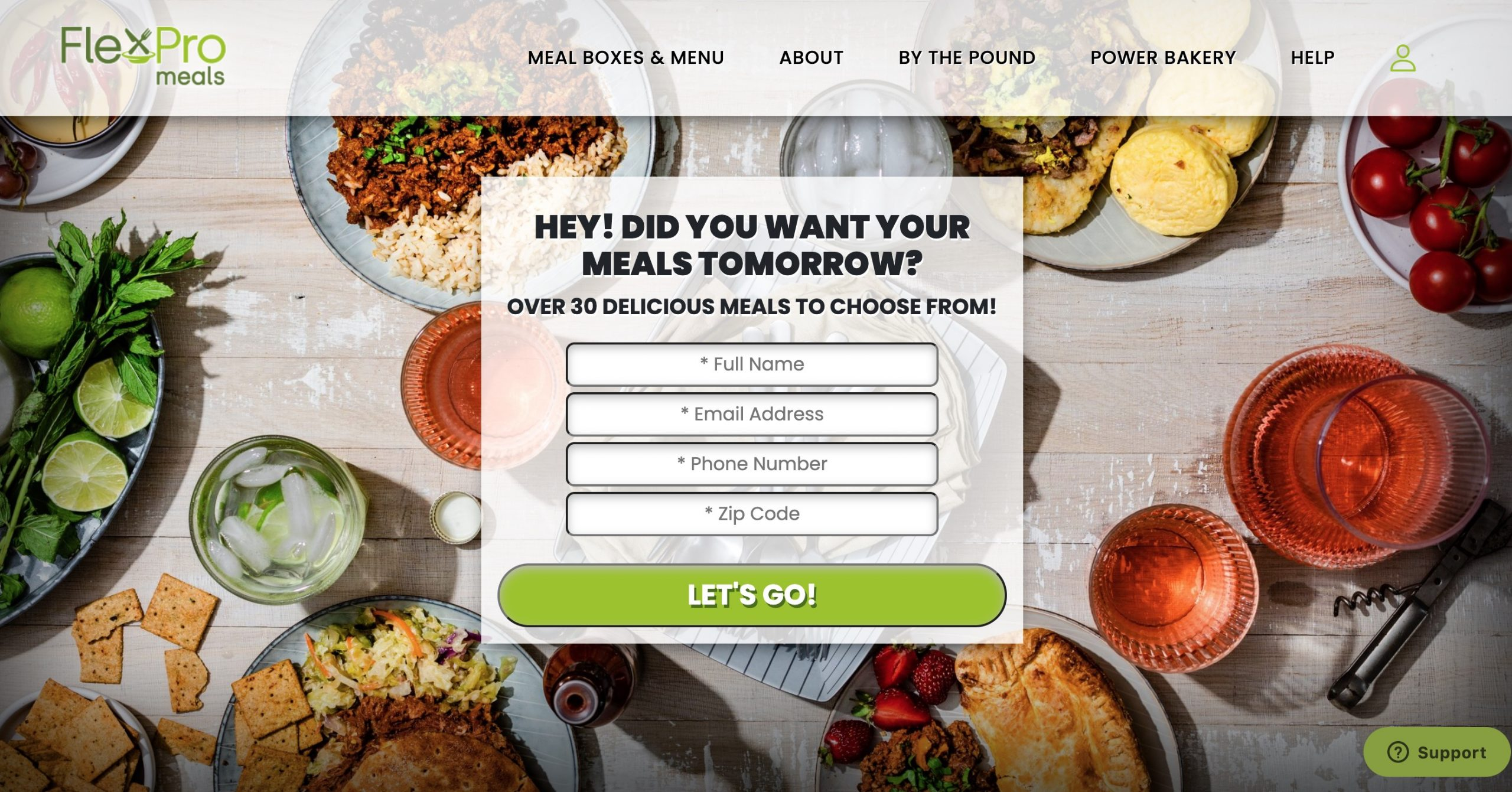 flexpro meals main page