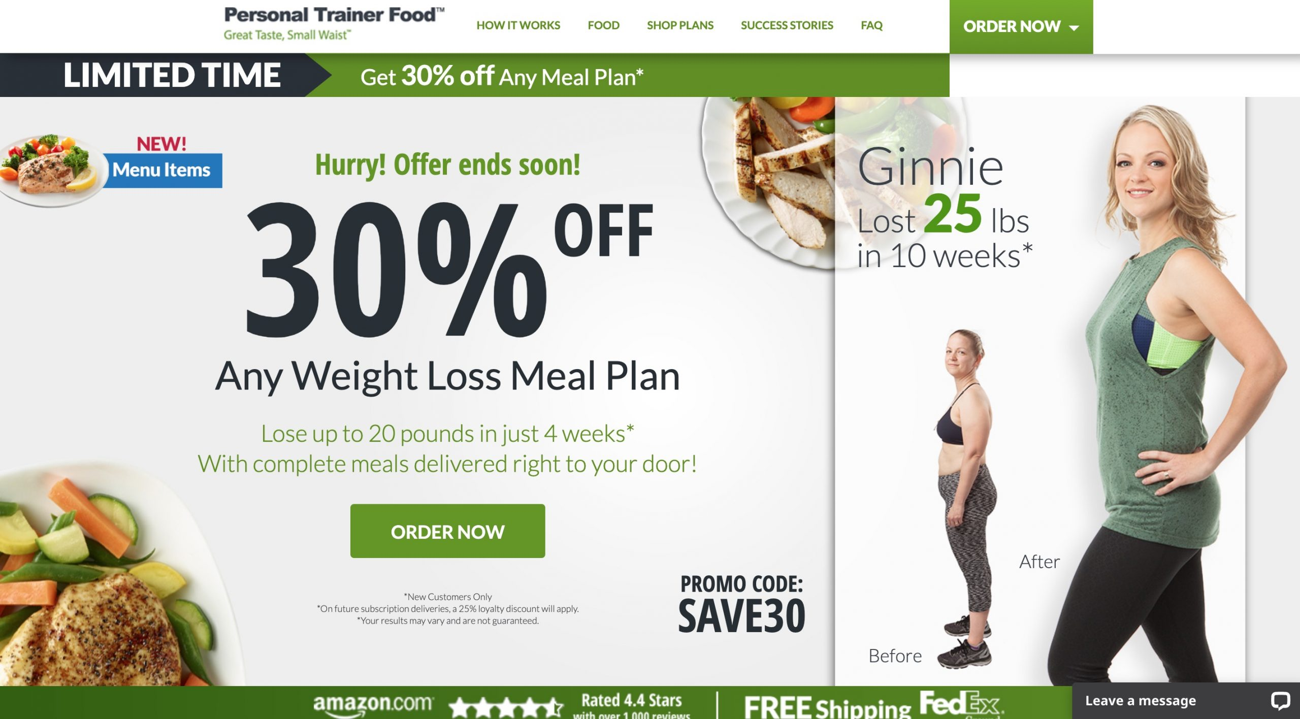 personal trainer food main page